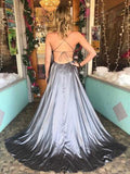 A-Line Spaghetti Straps Silver Backless Custom Long Prom Dresses,FPPD084