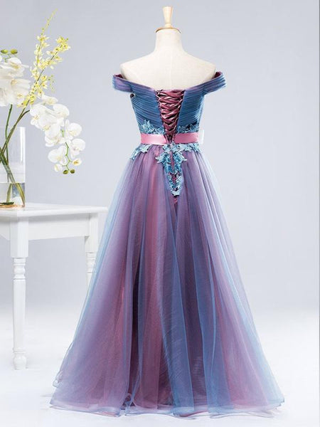 A-Line Off Shoulder Blue&Pink Tulle Long Prom Dresses,FPPD071