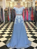 A-Line Two Pieces Off Shoulder Blue Long Prom Dresses With Lace,FPPD091