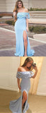 Mermaid Lace Off Shoulder Side Slit Blue Long Prom Dresses,FPPD103