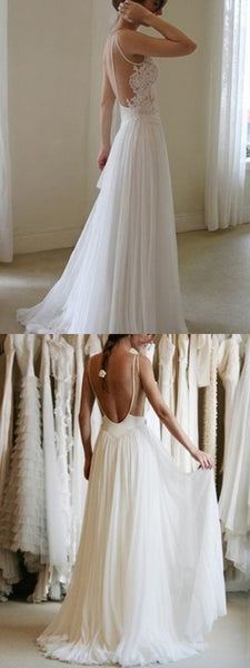Alluring A-Line Sleeveless Laced Chiffon Long Wedding Dresses With Open Back,FPWD059