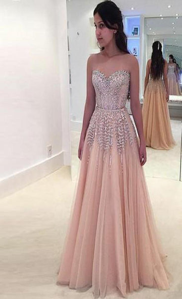 A-Line Sweetheart Beaded Tulle Custom Long Prom Dresses,FPPD086