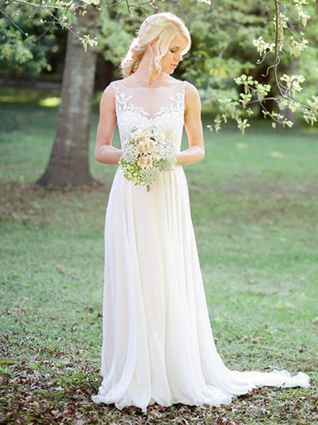 See through A-Line Scoop Neckline Sleeveless Chiffon Long Wedding Dresses With Appliques,FPWD060