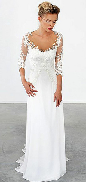 A-Line Illusion Long Sleeves Sweep Train Chiffon Wedding Dresses With Appliques,FPWD065