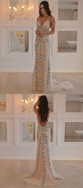 New Arrival Mermaid Spaghetti Straps Prom Dresses With Appliques,FPPD046
