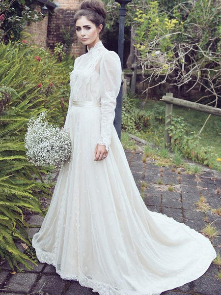 Elegant A-Line High Neck Long Sleeves Sweep Train Wedding Dresses With Lace,FPWD066