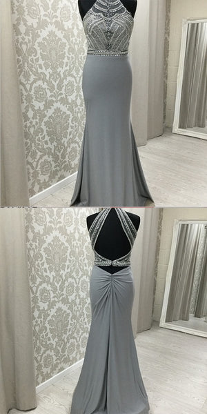 Sexy A-Line Halter Grey Beaded Prom Dresses With Open Back,FPPD016
