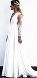 Elegant A-Line Deep V-Neck Long Sleeves Sweep Train Wedding Dresses With Lace,FPWD068