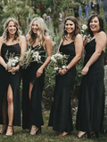 Spaghetti Straps Black Chiffon Side Slit Long Bridesmaid Dresses,FPWG006
