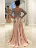 A-Line V-Neck Side Slit Beaded Floor Length Prom Dresses With Long Sleeves,FPPD140