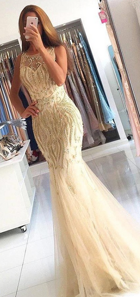 Sexy Mermaid Jewel Sleeveless Sweep Train Prom Dresses With Beading,FPPD196