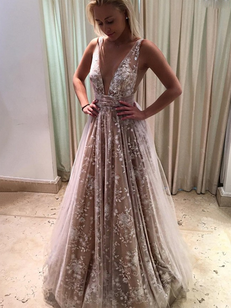Elegant A-Line Deep V-Neck Sleeveless Champagne Tulle Long Prom Dresses With Lace,FPPD151