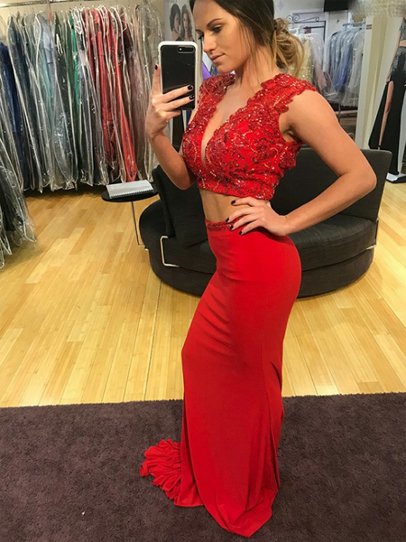 Mermaid Deep V-Neck Two Pieces Sleeveless Red Satin Long Prom Dresses With Beading,FPPD162