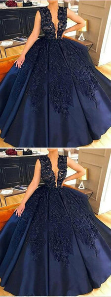 New Ball Gown Deep V-Neck Sleeveless Navy Blue Long Prom Dresses With Lace,FPPD182