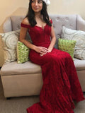 Mermaid Off Shoulder Red Long Prom Dresses With Lace,FPPD166
