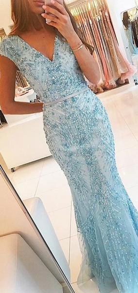 Elegant Mermaid V-Neck Cap Sleeves Long Prom Dresses With Beading,FPPD155