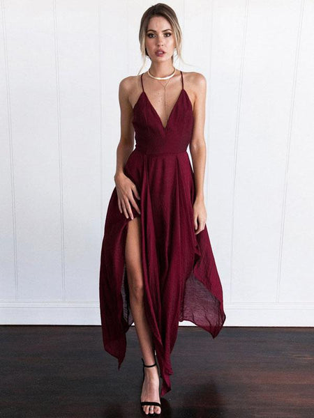 A-Line V-Neck Spaghetti Straps Burgundy Chiffon Prom Dresses With Open Back,FPPD142