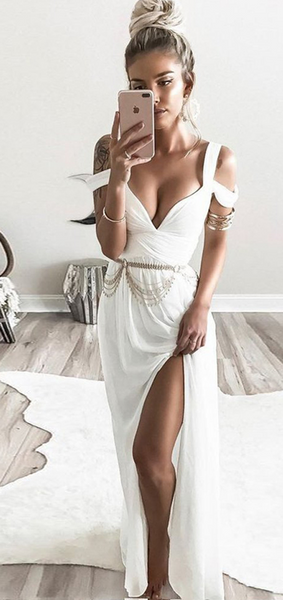 Sexy A-Line Deep V-Neck Side Slit White Chiffon Long Prom Dresses With Beading,FPPD185