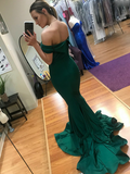 2019 New Arrival Mermaid Off Shoulder Satin Long Prom Dresses Online,FPPD110