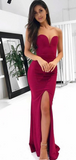 Elegant Mermaid Side Slit Sweetheart Long Prom Dresses,FPPD153