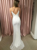 Charming Mermaid V-Neck Spaghetti Straps White Sequined Long Prom Dresses,FPPD148