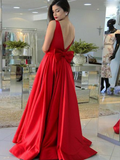 A-Line Round Neck Sleeveless Red Long Prom Dresses With Bowknot,FPPD122