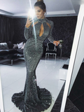 Charming Mermaid High Neck Grey Sequined Prom Dresses With Long Sleeves,FPPD146