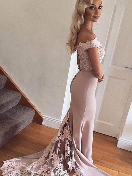 Sexy Mermaid Off Shoulder Sweep Train Prom Dresses With Lace,FPPD200