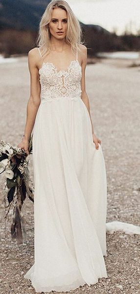 A-Line Spaghetti Straps Chiffon Long Beach Wedding Dresses With Open Back,FPWD074