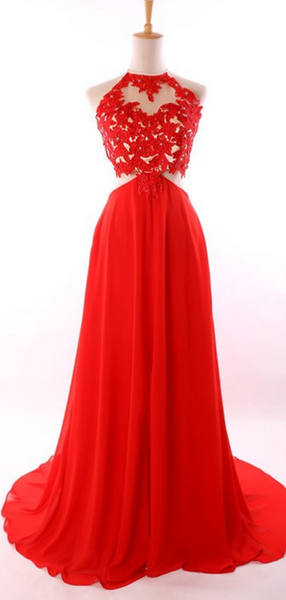 Simple A-Line Halter Sleeveless Open Back Red Chiffon Long Prom Dresses,FPPD206