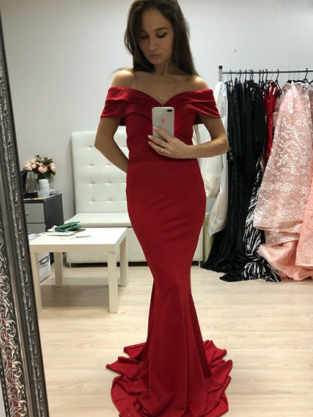 Mermaid Off Shoulder Red Sweep Train Satin Custom Prom Dresses,FPPD167