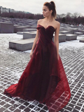 A-Line Sweetheart Burgundy Organza Custom Long Prom Dresses,FPPD133