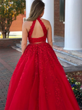 A-Line Two Pieces Halter Tulle Beaded Long Prom Dresses With Open Back,FPPD134