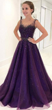 A-Line Spaghetti Straps Tulle Long Prom Dresses With Beading,FPPD132