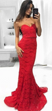 Sexy Mermaid Sweetheart Sweep Train Red Long Prom Dresses With Lace,FPPD203