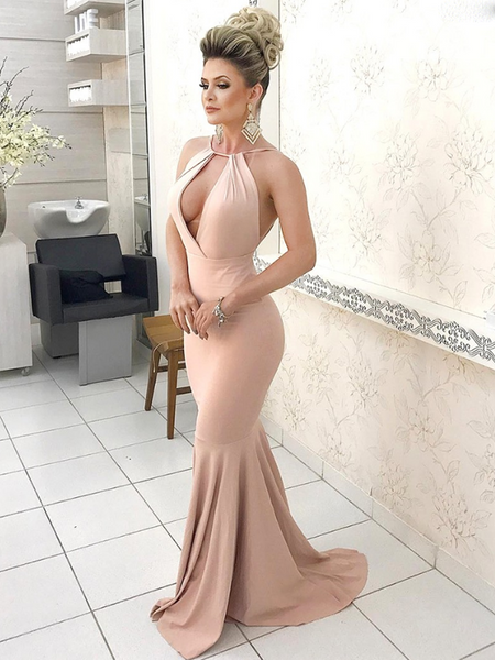 Elegant Mermaid Halter Sleeveless Deep V-Neck Backless Long Prom Dresses,FPPD152