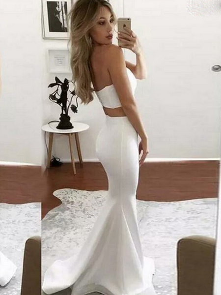Mermaid Two Pieces Sweetheart Side Slit White Long Prom Dresses,FPPD169