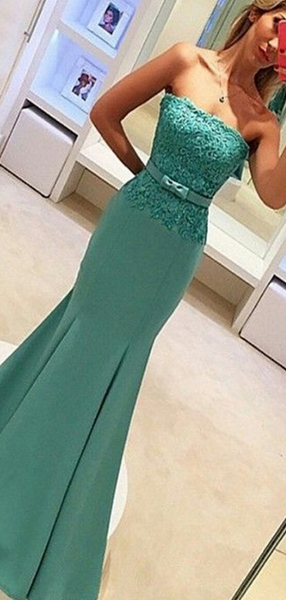 Mermaid Strapless Laced Sweep Train Custom Long Prom Dresses,FPPD170