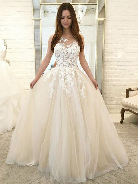 A-Line Round Neck Sleeveless Tulle Long Wedding Dresses With Appliques,FPWD075