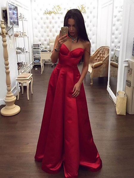 A-Line Spaghetti Straps Sweetheart Red Long Prom Dresses Online,FPPD131