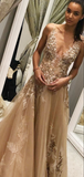 A-Line V-Neck Two Straps Beaded Tulle Backless Long Prom Dresses With Appliques,FPPD144