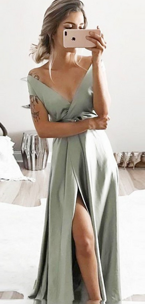Sexy A-Line Deep V-Neck Sleeveless Side Slit Long Prom Dresses,FPPD187