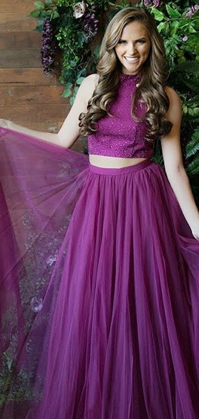 A-Line Two Pieces Round Neck Tulle Long Prom Dresses With Sequins,FPPD138