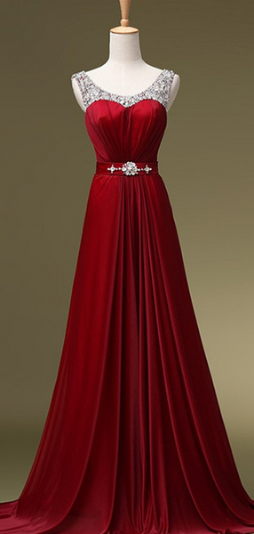 A-Line Scoop Neckline Sleeveless Burgundy Chiffon Long Prom Dresses With Beading,FPPD128
