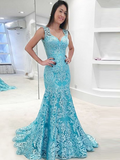 Mermaid Two Straps Sweetheart Blue Backless Long Prom Dresses With Lace,FPPD179