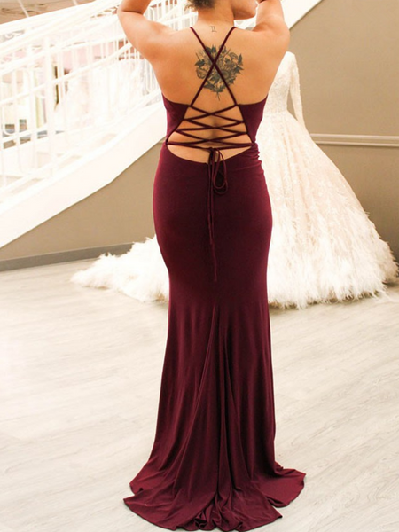 Mermaid Spaghetti Straps Side Slit Open Back Long Prom Dresses,FPPD178