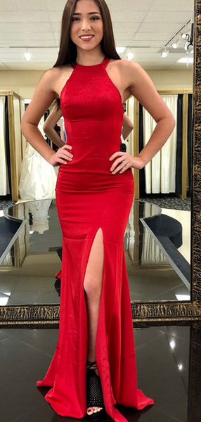 Mermaid Halter Side Slit Sleeveless Backless Red Long Prom Dresses,FPPD163