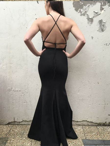 Simple Mermaid Halter Backless Black Cheap Long Prom Dresses Online,FPPD208