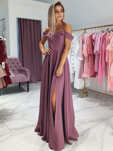 A-Line Off Shoulder Side Slit Cheap Long Prom Dresses,FPPD119