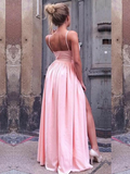 A-Line Spaghetti Straps Pink Side Slit Long Prom Dresses,FPPD129